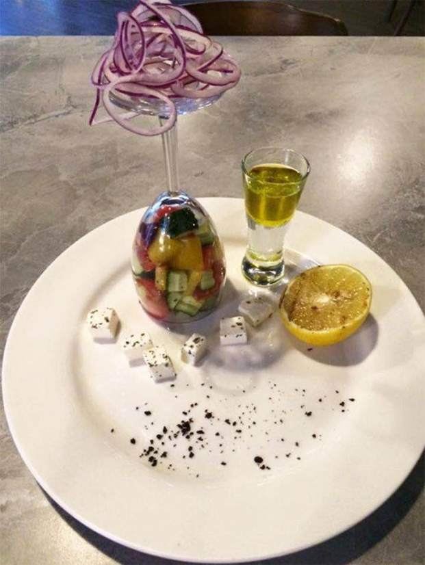 deconstructed greek salad